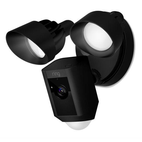 Flood Light Camera with Siren Black